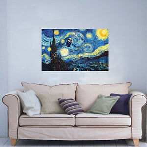 16-x-26-INCH-CANVAS-VAN-GOGH-STARRY-NIGHT-WITH-DR-WHO-TARDIS-READY-TO-HANG