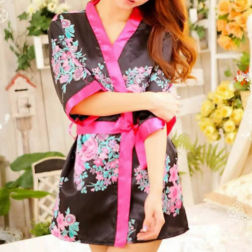 Sexy Lady's Lingerie Sleepwear Robe Japanese Kimono Costume Nightgown Uniform
