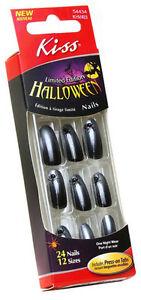 24 Kiss Halloween Costume Nails,Black Spider Design Nail ...