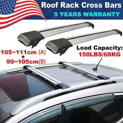 1x 105~111cm Universal Roof Rack Cross Bars Top Luggage Carrier 150LBS Silver