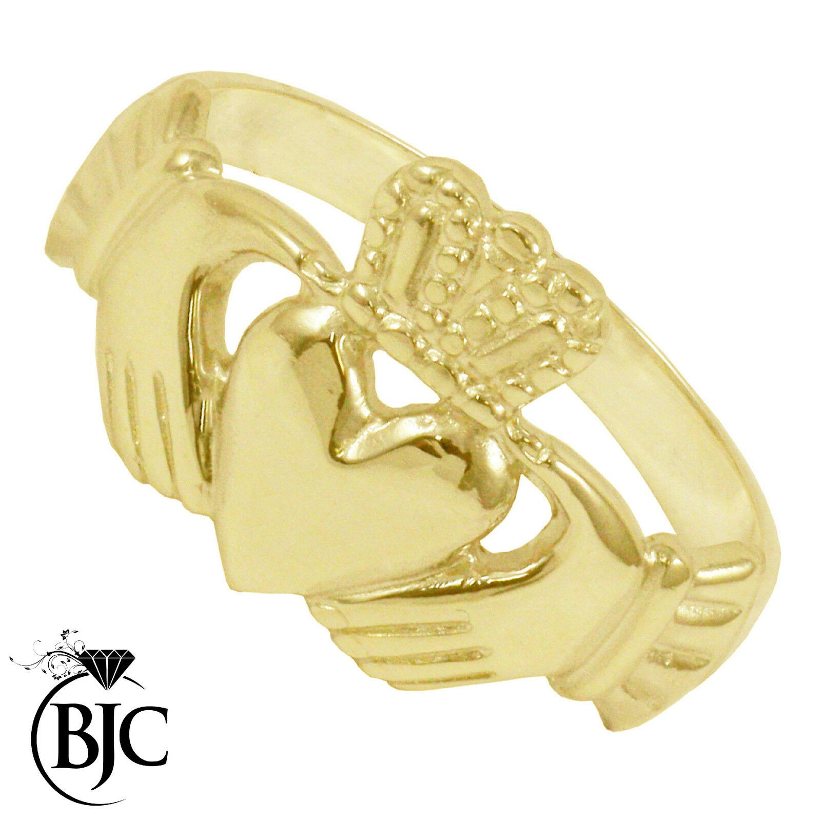 BJC 9 ct gold yellow Claddagh Irlandés Anillo Hombre Múltiples Tamaños