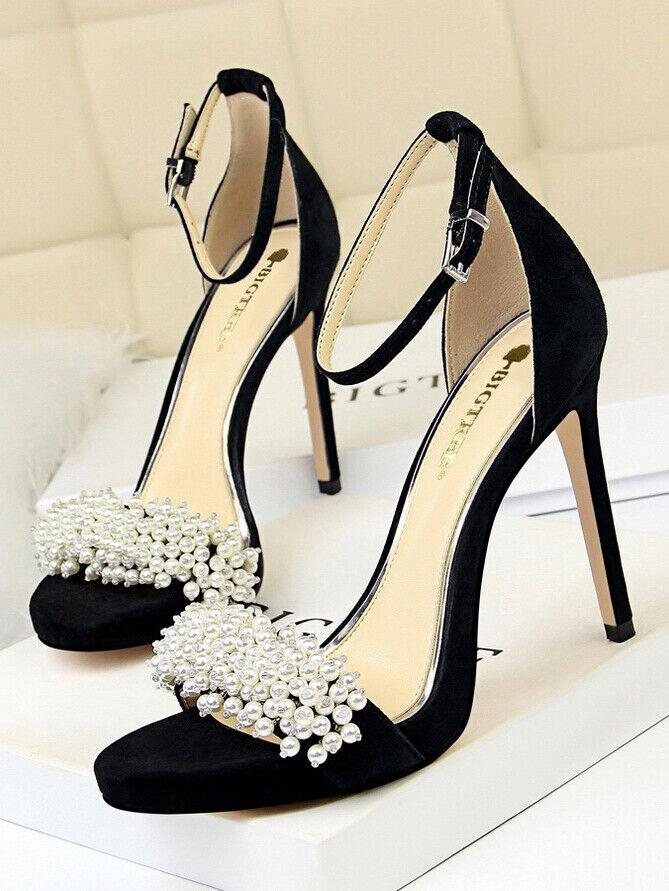 Sandali  alti pelle sintetica noir strass eleganti stiletto 12 cm  cw120
