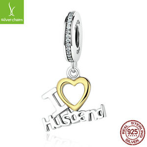 034-I-LOVE-HUSBAND-034-amp-18k-Gold-Authentic-925-Sterling-Silver-Dangle-Charms-Jewelry