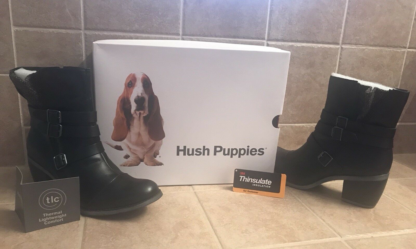 HUSH PUPPIES RUSTIQUE ANKLE BOOTS BLACK WP Leather Insulated Waterproof Warm 10