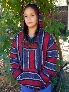 Mexican Baja Hoodie Poncho Pull-Over Blue and Grey Stripes Jerga