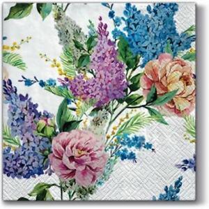 20-Lunchservietten-034-SPRING-LILAC-034-33x33-Napkins-Blumen-Sommer-Blumenstrauss