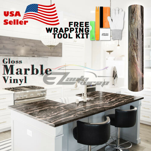 *Premium Gloss Marble Granite Look Vinyl Wrap Contact Paper Home Kitchen #D30