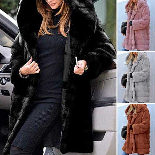 Womens Teddy Bear Long Knee Coat Ladies Vintage Faux Fur Jacket Lapel Outwear