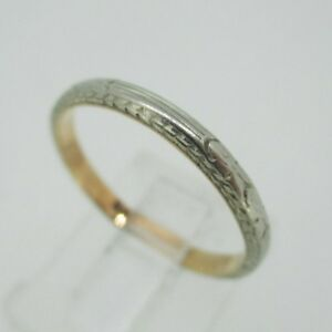 Vintage 14k White Gold Wedding Band With Yellow Gold Accent Ring
