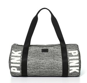 075fbaa949 Victoria s Secret Pink Campus GREY MARL Duffle Gym Bag Tote College ...