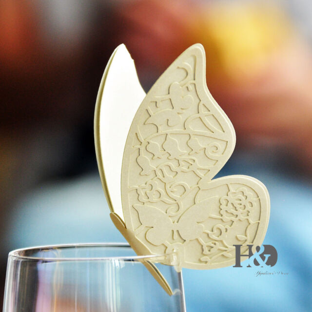 100PCS Ivory Double-deck Butterfly Glass Place Name Cards Wedding Favour Decor
