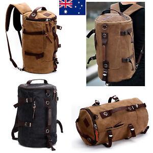 5c57ccc8f46 AU New Mens Vintage Canvas Backpack Rucksack Laptop Shoulder Travel ...