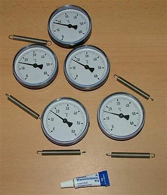 Wärmeleitp. 5 Anlegethermometer Set Ø63mm 60°C 5278#