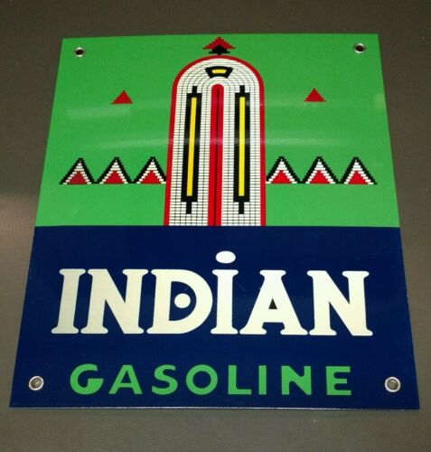Indian Gasoline  Motor Oil gas  sign ..FREE ship on 10 signs