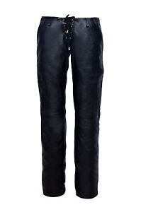 Blød Napa Jeans Classic New Style Provocative Bukser Ladies Sort Læder Laced YYq70R