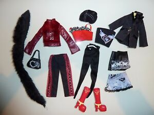 B9-Lot-de-vetements-habits-poupee-BARBIE-MATTEL-VESTE-BOTTES-NOIR-ROUGE-TTBE