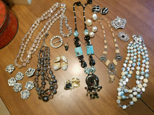 Details about  / Lot of Costume Jewelry Earrings Pins Necklaces Rhinestones and More