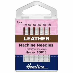 Pack of 5 Needles Sewing Machine Leather Needles Size 100//16