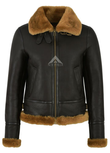 Ladies Flying Jacket Sheepskin Aviator 05 Style 100 Real F Raf B3 Shearling UWUTYr1