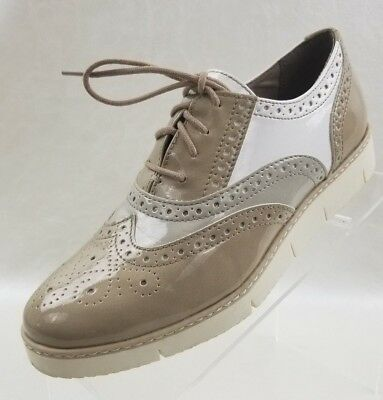 Marco Tozzi Oxford Shiny White Beige Lace Up Womens Shoes Size EU 37 US 6.5 | eBay