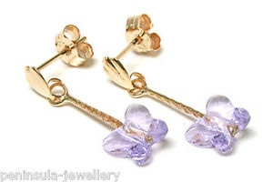 9ct Gold Blue Swarovski Crystal elements long drop earrings 5f2AqtUQ