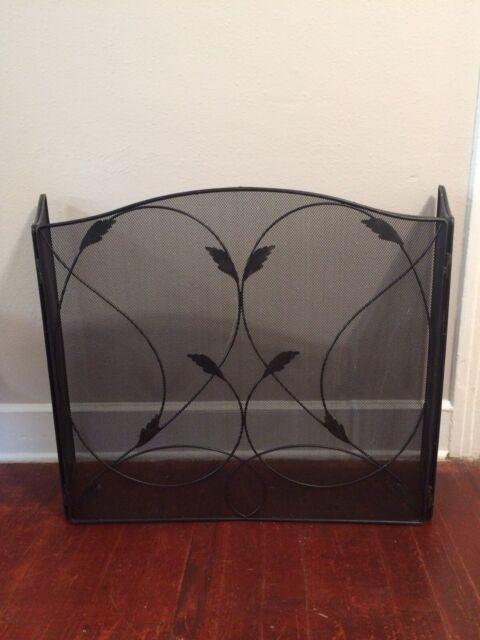 3 Panel Metal Fireplace Screen Metal Decorative Black Use