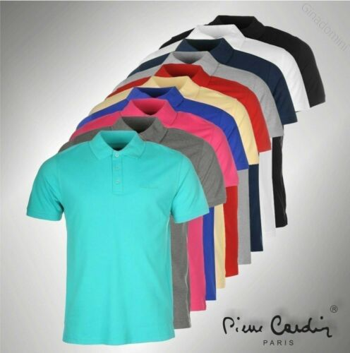 New Mens Pierre Cardin Short Sleeves Plain Polo Shirt Top Sizes from S to XXXL