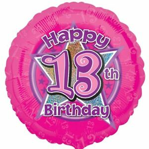 Image Is Loading Pink Star Happy 13th Birthday Holographic Foil Balloon