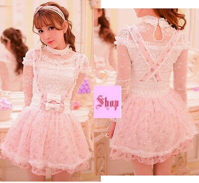 Japan Fashion Princess Cute Kawaii Lolita Slim Chiffon Lace Strape dress Skirts