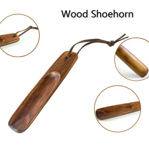1Pc wooden shoe horn portable craft shoes accessories solid wood shoehorn ITHWC
