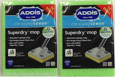 Addis Superdry Mop Head Sponge Refill Twin Pack Anti-Bacterial