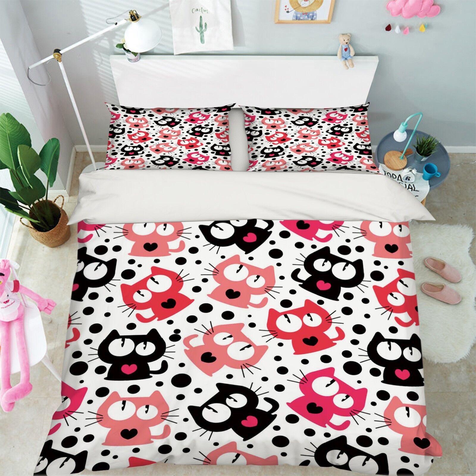 3D Cartoon Cat 6 Bed Pillowcases Quilt Duvet Cover Set Single Queen King AU Cobb