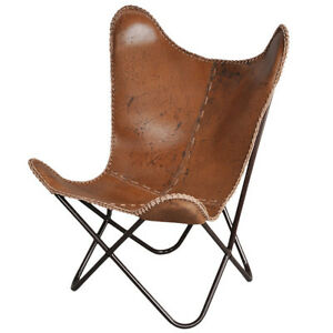 Details About BKF AA Star Design Brown Leather Butterfly Arm Chair  Butterfly Metal Armchair