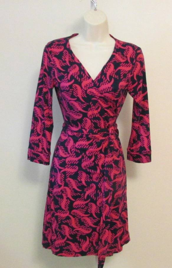 Diane von Furstenberg New Julian two mini Tweed wave pink dahlia wrap dress 2