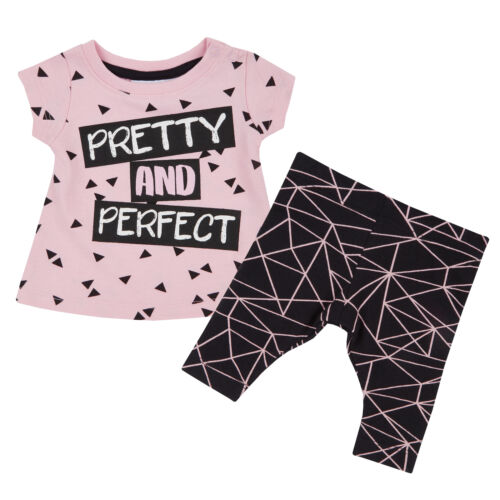 Baby Girls T-shirt Leggings Outfit Set Top Trousers Cotton Cool Geometric Pants