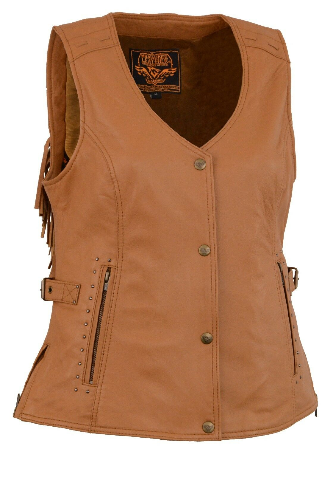 Milwaukee - Ladies Snap Front TAN Leather Vest w  Fringe Detailing - MLL4566