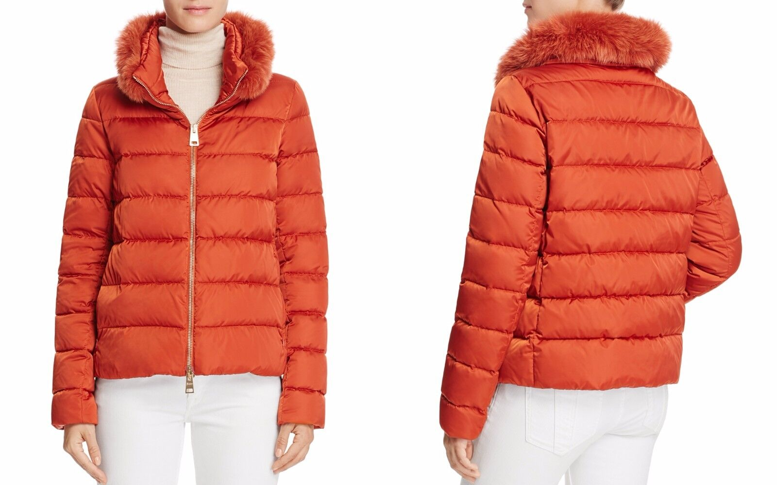 Herno Short Satin Down Puffer Puffer Puffer Coat Small orange Defect Missing Fur MSRP  865 c3e852