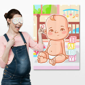 Pin the Dummy on the Baby Game Baby Shower Party Games ~ Boy Girl Unisex