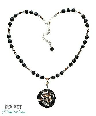 Glass Focal Elegant~ Sparkling ~ Beaded Adult Necklace Bead Kit