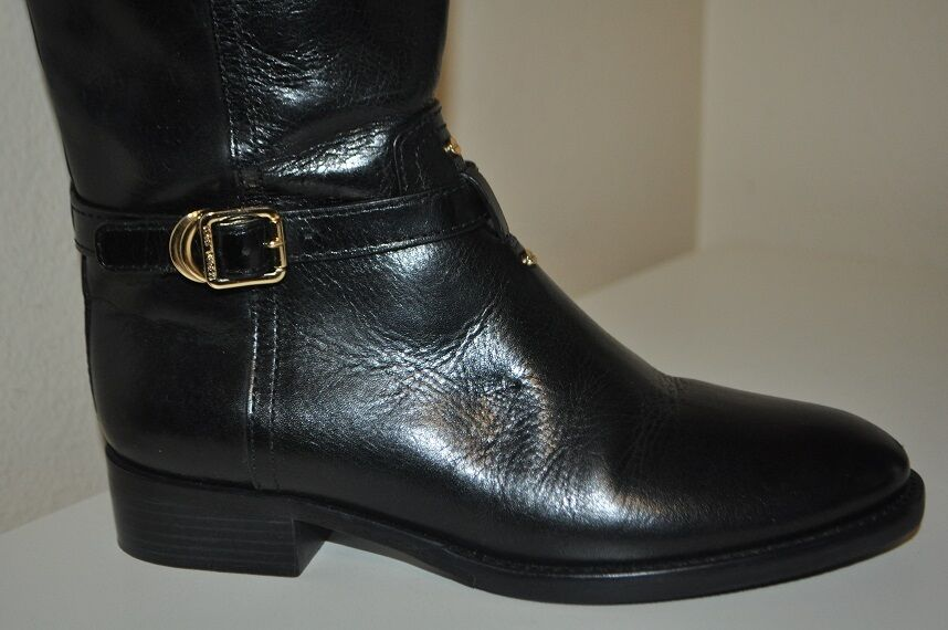 495 Tory Burch ELOISE Black Leather Knee High Tall Riding Boot Sz 6 Boots shoe 2d389a