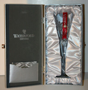 WATERFORD-034-Snowflake-Wishes-034-JOY-Toasting-Flute-Clear-Crystal-1st-Edition-154357