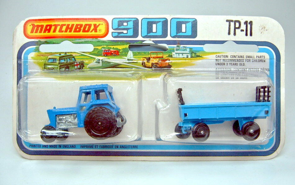 Matchbox Matchbox Matchbox TP11 Tractor & Hay Trailer blau & hellblau top auf Karte 2608e7