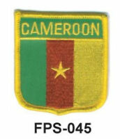 2-1/2'' X 2-3/4 Cameroon Flag Shield Embroidered Patch
