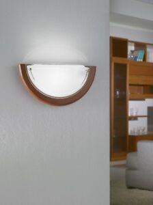 Détails sur Applique murale design classique luminaire verre satiné bois  lampe vasque 54966