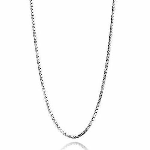 925 Sterling Silver Hypo-allergenic 1.4mm Box Chain Necklace 16//18//20//22//24 inch