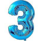 Amscan 22/ 55 X 34/ 86 Cm Number 3 Super Shape Foil Balloon Blue