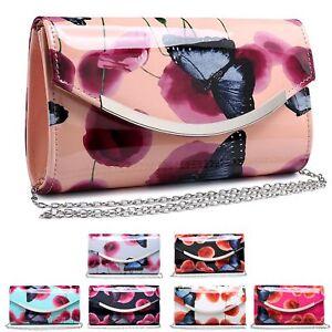 Ladies-Butterfly-Clutch-Bag-Poppy-Flower-Evening-Handbag-Floral-Purse-MA35021