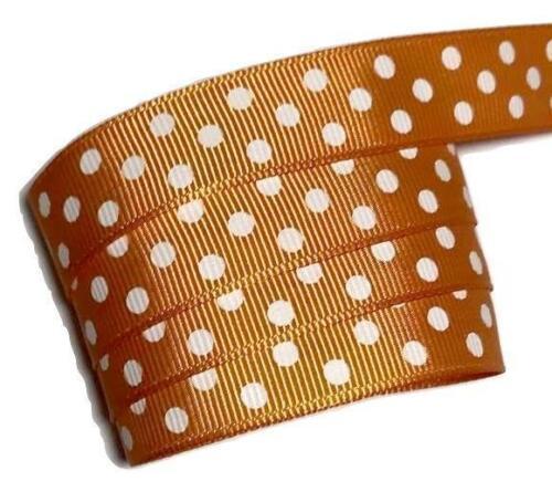 "3 yards Orange polka dot print 5//8/"" grosgrain ribbon by the yard DIY"