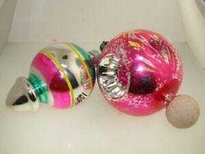 2 VINTAGE DIMPLED HOT PINK MERCURY GLASS CHRISTMAS ORNAMENTS!