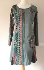 Gringo Fair Trade M UK 12 Small Festival Tunic Dress Grey Green Aztec Geometric